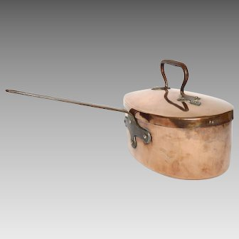 Antique French Cooking Pot - Copper Cookware -Daubiere