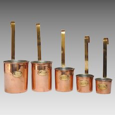 Set of Five Vintage Copper Measuring Cups from France