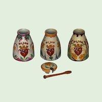 Set of Three Hand-Painted French Mustard Jars - Grey Poupon Ceramic Crock - Dijon Mustard Pot