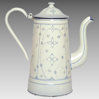 Blue & White Saxony Pattern French Enamel Coffee Pot