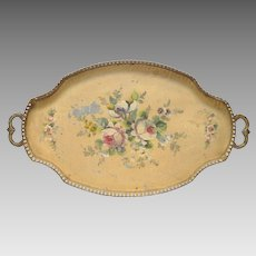 French  Hand-Painted Floral Tole Toleware Tray with Cut-Out Sides