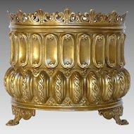 French Brass Repousse Planter / Jardiniere / Cache Pot / Flower Pot