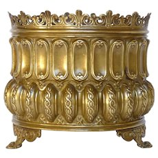French Brass Repousse Planter / Jardiniere / Cache Pot / Flower Pot