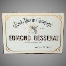Champagne Advertising Sign - Besserat Advertisement - Pre-WW1 Champagne Publicity Carton