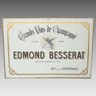 Champagne Advertising Sign - Besserat Advertisement - Pre-WW1 Champagne Publicity Carton