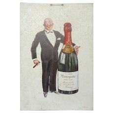 1927 Carton Board SEM Advertisement for Heidsieck Monopole CHampagne - Advertising Board Sign