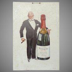 1927 Carton Board SEM Advertisement for Heidsieck Monopole CHampagne - Advertising Board Sign