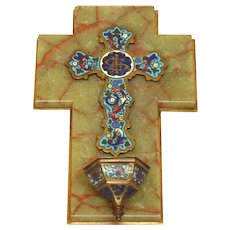 Antique French Champleye /Champlevé - Enamel Cross and Holy Water Stoup