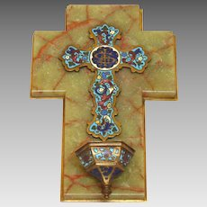 Antique French Champleye / Champlevé - Enamel Cross and Holy Water Stoup
