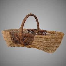 Vintage French Woven Wicker Harvest Basket - Garden Produce Trug from France