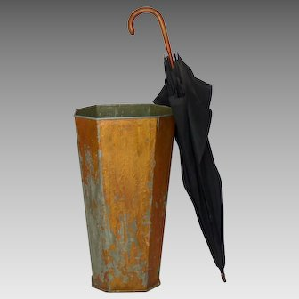 Vintage Chippy Paint French Umbrella Stand - Zinc Container