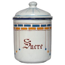 UNIQUELY - Decorated French Enamel Graniteware Sugar Pot / Enamelware Sucre Canister early 1900s