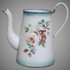 Japy Enamelware Floral Coffee Pot with Aqua Shading - French Graniteware Rose Coffee Pot early 1900s