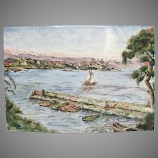 Enamel 19th Century Signed Painting of Antibes on French Riviera  - Enamelware Seaside Landscape Plaque