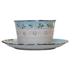 French Floral Enamel Graniteware Butter Dish - Enamelware Cup and Saucer