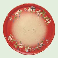 Antique French Graniteware Serving Tray - RARE Red Enamel with Hand-Painted Flowers in Relief