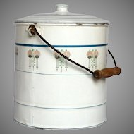 French Enamel Bucket with Lid and Art Deco Decor - Lidded Graniteware Pail with Wooden Handle from France
