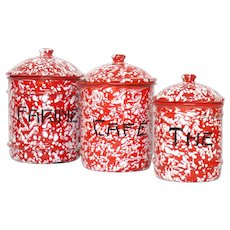 Red and White Enamel - Enamelware  Kitchen Canisters - Graniteware Storage Set