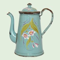 French Floral Enamel Graniteware Coffee Pot - Enamelware -Hand-Painted Coffeepot