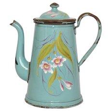 French Floral Enamel Graniteware Coffee Pot - Enamelware -Hand-Painted Coffeepot