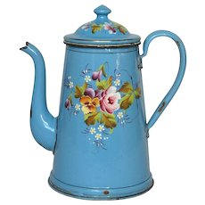 Hand-Painted Rose & Pansy Floral Enamelware Coffee Pot from France