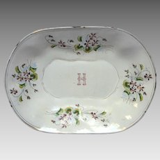 French Enamelware Hand-Painted Floral Graniteware Tray - Monogrammed Wedding Gift