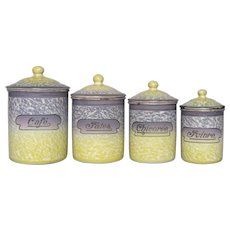 Rare PURPLE & Yellow Mottled Enamel Graniteware Canister Set