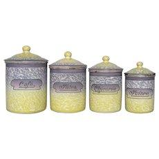 Rare PURPLE & Yellow Mottled Enamel Graniteware Canister Set