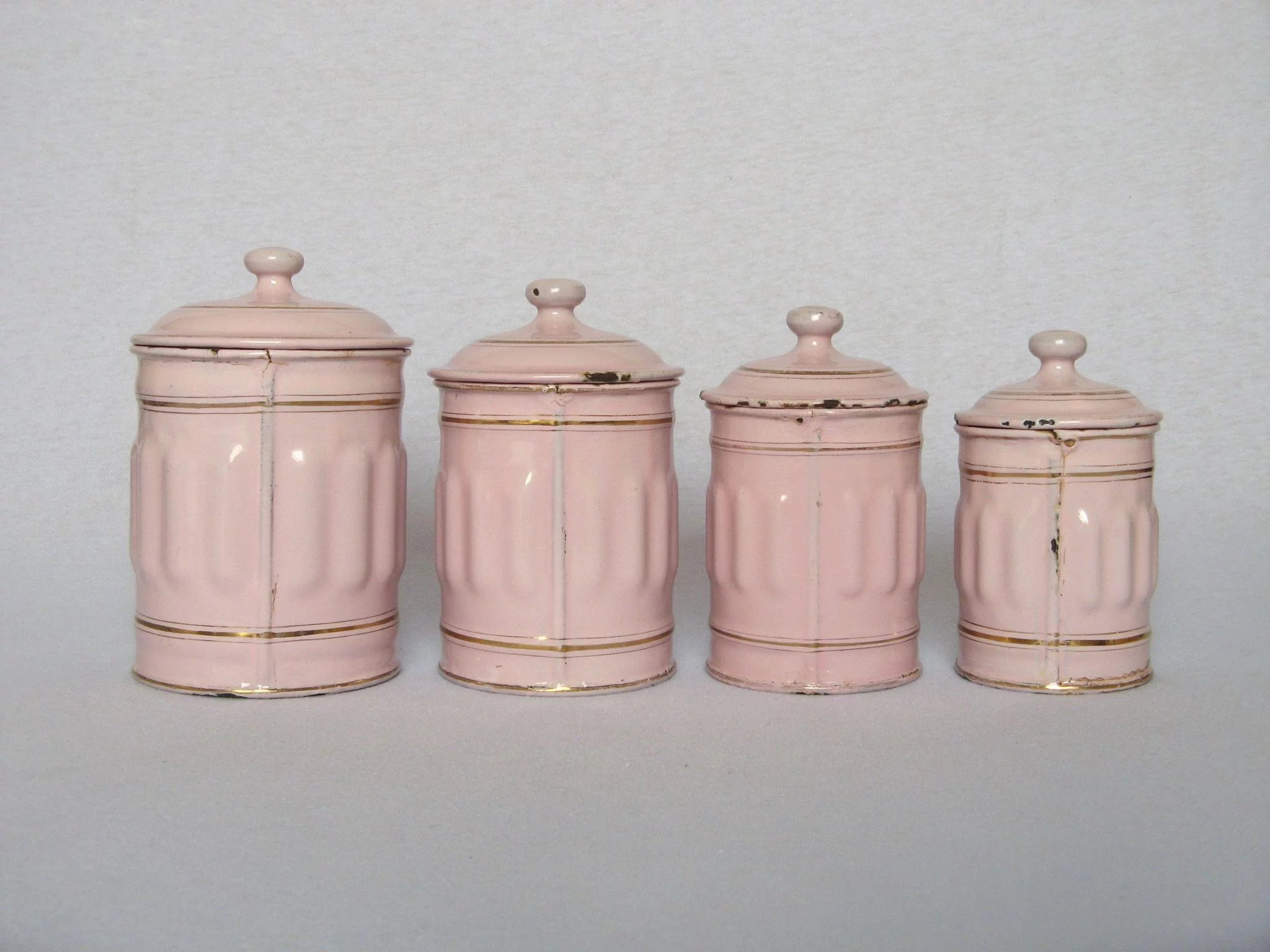 enamel kitchen canisters pink enamel french graniteware kitchen canisters yesterdays france ruby lane 4024