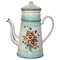 Aqua Green Shaded Floral Enamelware Drip Coffee Pot