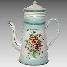 Aqua Green Shaded Floral Enamelware Drip Coffee Pot