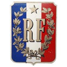 Vintage Wooden French Republic Flag Holder  - Shield - Sign