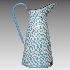 French Blue & White DROOPY Check Body Pitcher - Enamelware Jug