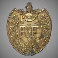 19th Century French Pressed Brass Government Shield