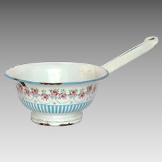 Rose Garland Blue Striped French Enamel STRAINER ! Rare !