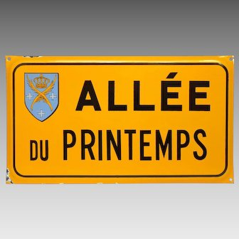 French Enamel Street Sign - Graniteware Plaque - Road Signage from the City of St. Etienne