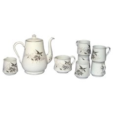EXCEPTIONAL Hand Painted Enamelware Coffee Server, Creamer and Six Cups