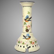 Truly Exceptional Hand-Painted Enamelware Gas Light / Lamp Fixture - Late 1800s Graniteware