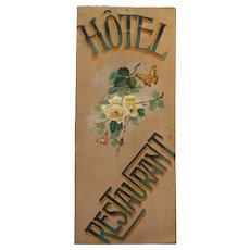 Hand-Painted Wooden Trade Sign - Folk Art Painted Restaurant Sign from France