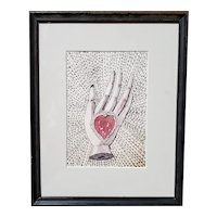 C1860 Calligraphy Heart in Hand Drawing