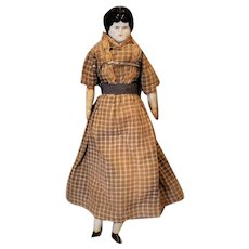 "Pretty 10"" China Head Antique Doll Brown Dress"