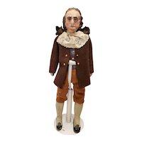 "10"" Terra Cotta Man Doll Ben Franklin"