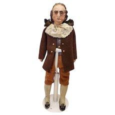 """Antique Terra Cotta Man Doll Ben Franklin 10""""  C1820s"""