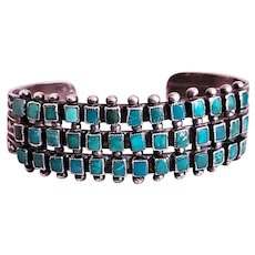 Old Pawn Zuni Bracelet with 3 rows of 39 Blue Gem Stones