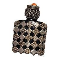 Miniature Doll Size Glass Filigree Perfume Bottle