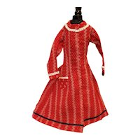 Antique Red Calico Doll Dress
