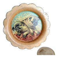 Miniature Doll Size Plate Pug Puppies