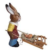 German Vintage Easter Rabbit with Cart