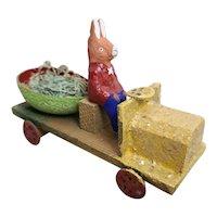 Vintage German Easter Rabbit in Car