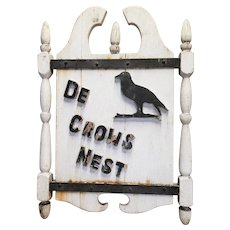 Antique Double Sided Inn Sign Crow's Nest Original Paint
